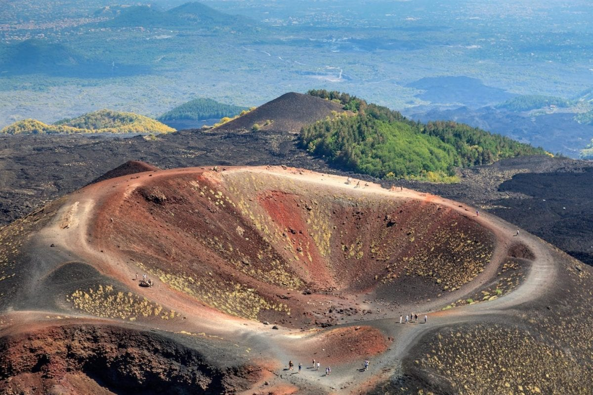 Collapsed volcano cone, Mount Etna, Sicily, Italy