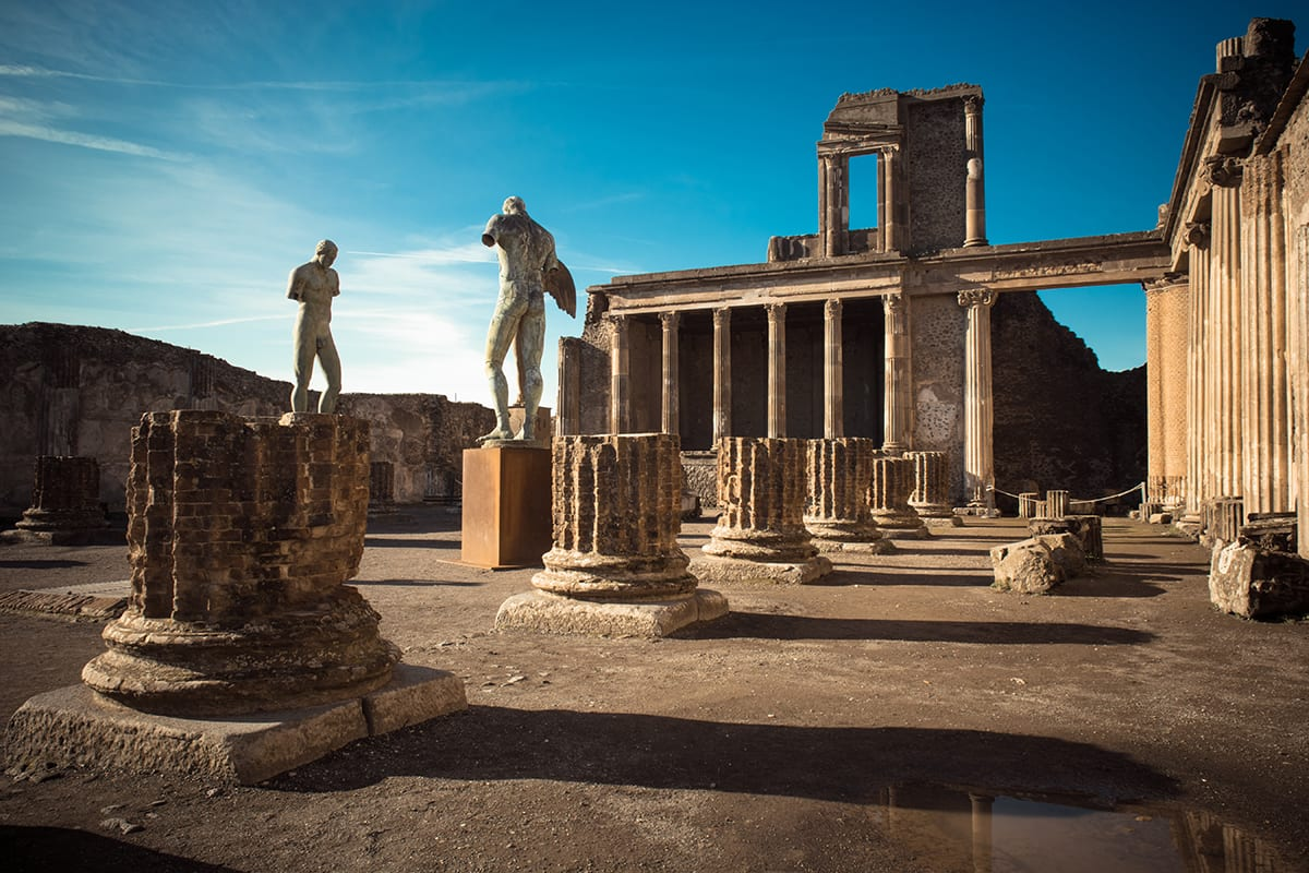 Ruins of ancient city of Pompeii, which was destroyed by volcano